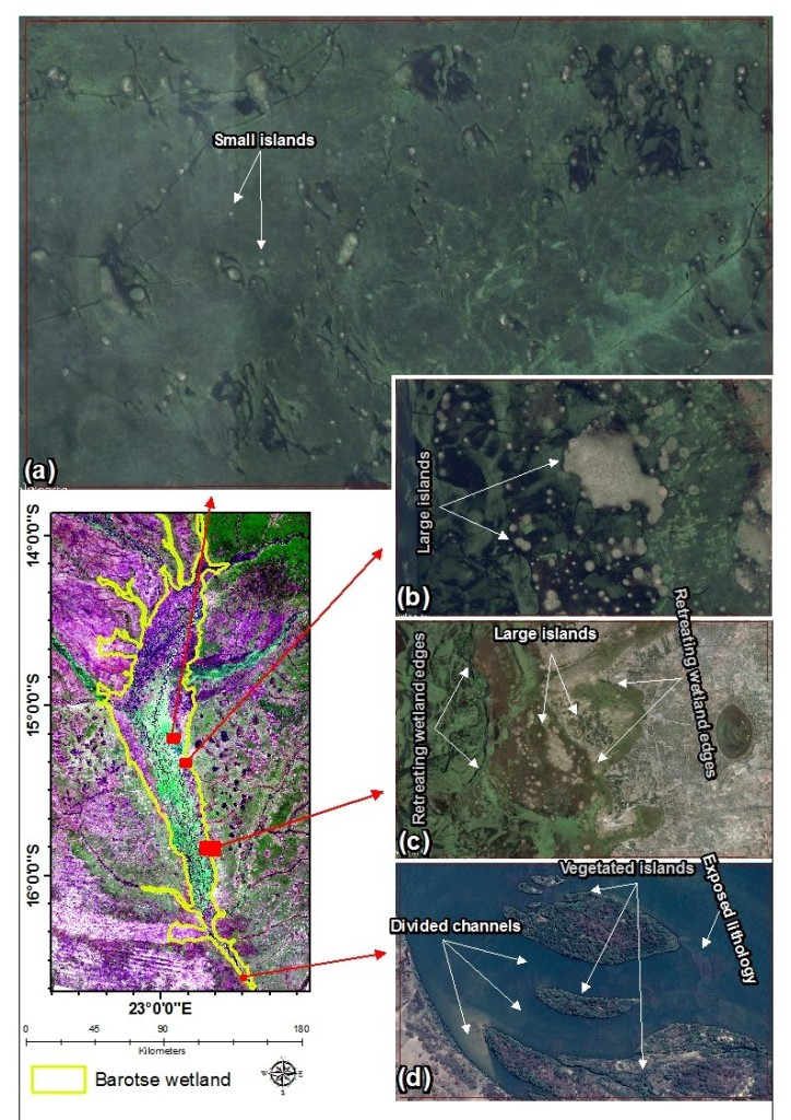 Google Earth images showing islands, channels and retreating wetland edges within the Barotse wetland, western Zambia.