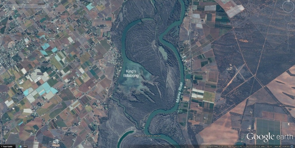 Google Earth image (2013) of King's Billabong, Victoria, Australia.