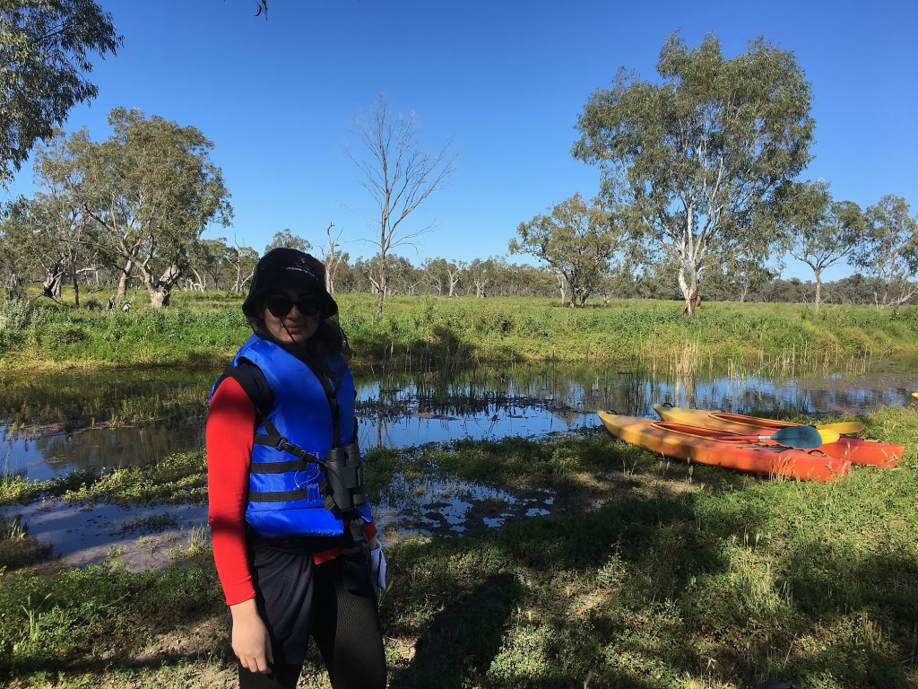 Neda Yousefi in the Macquarie Marshes, NSW, Australia.