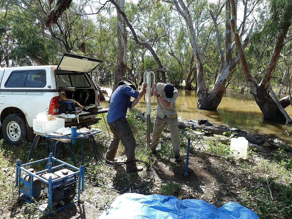 Zacc Larkin - Sediment sampling, Macquarie River, Australia. Photo by Tim Ralph